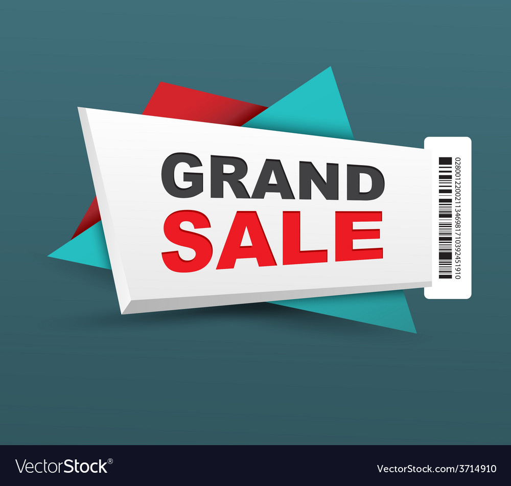 Grand sale banner with barcode vector | Price: 1 Credit (USD $1)