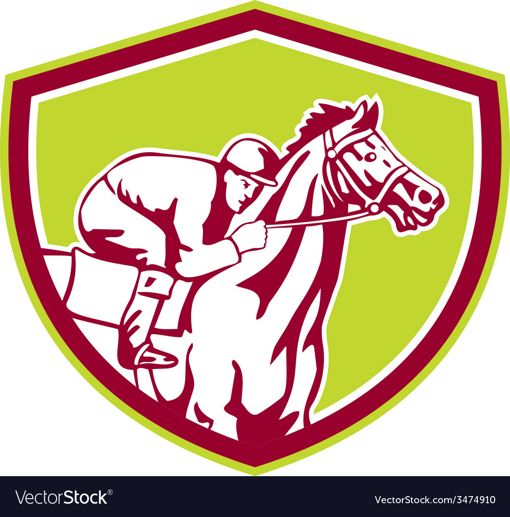 Jockey horse racing shield retro vector | Price: 1 Credit (USD $1)