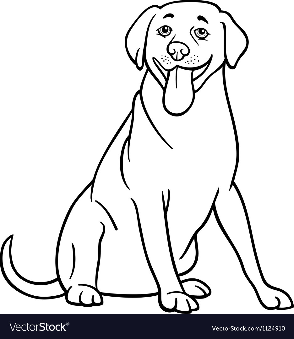 Labrador retriever dog cartoon for coloring vector | Price: 1 Credit (USD $1)
