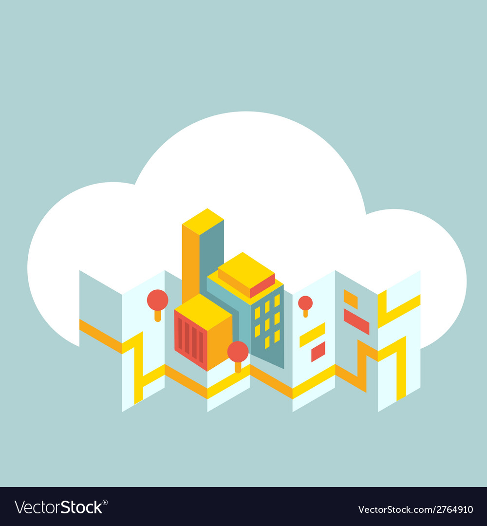 Modern city map in the cloud vector | Price: 1 Credit (USD $1)