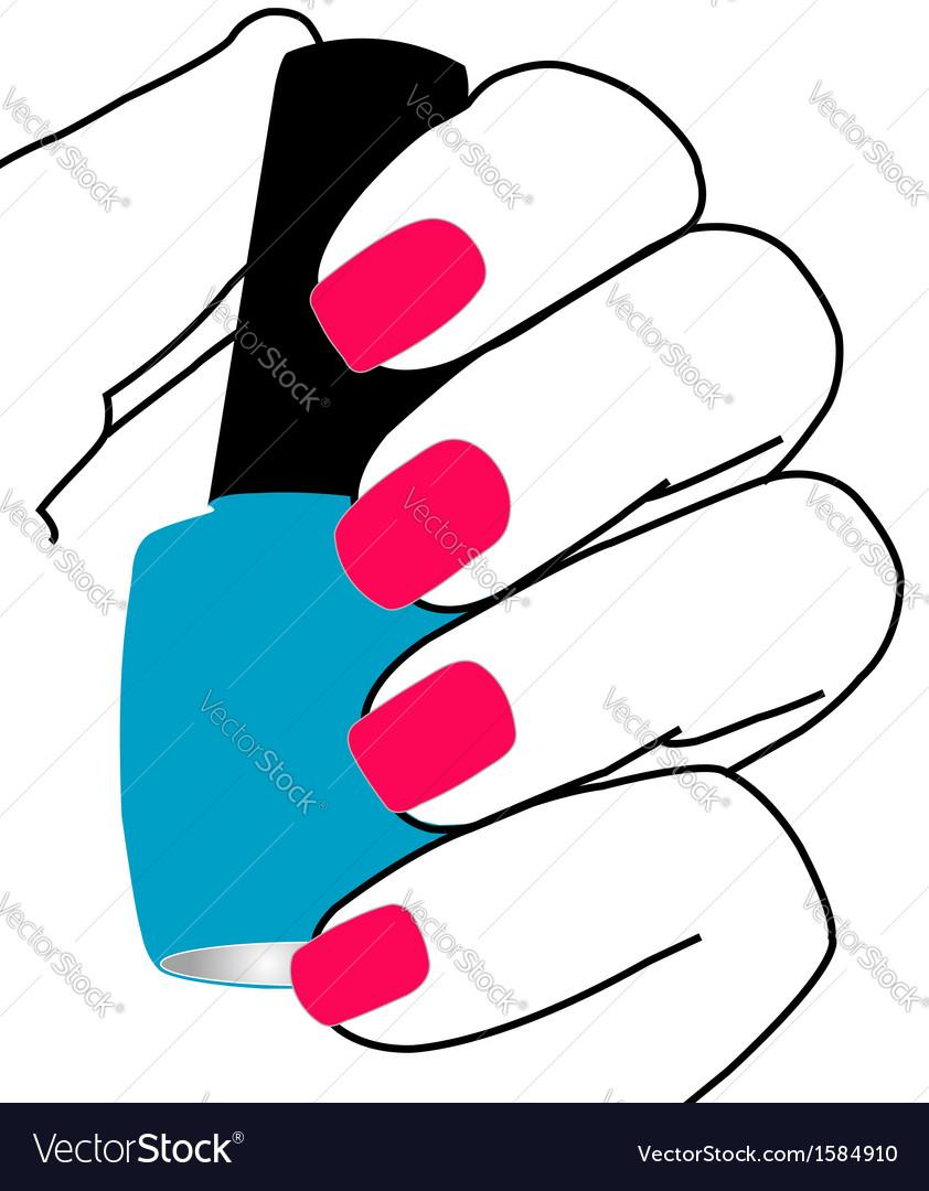 Nail polish in hand vector | Price: 1 Credit (USD $1)