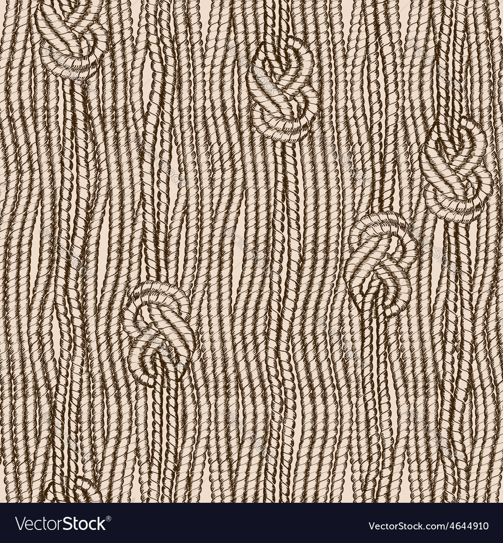 Seamless pattern of ropes with marine knots vector | Price: 1 Credit (USD $1)
