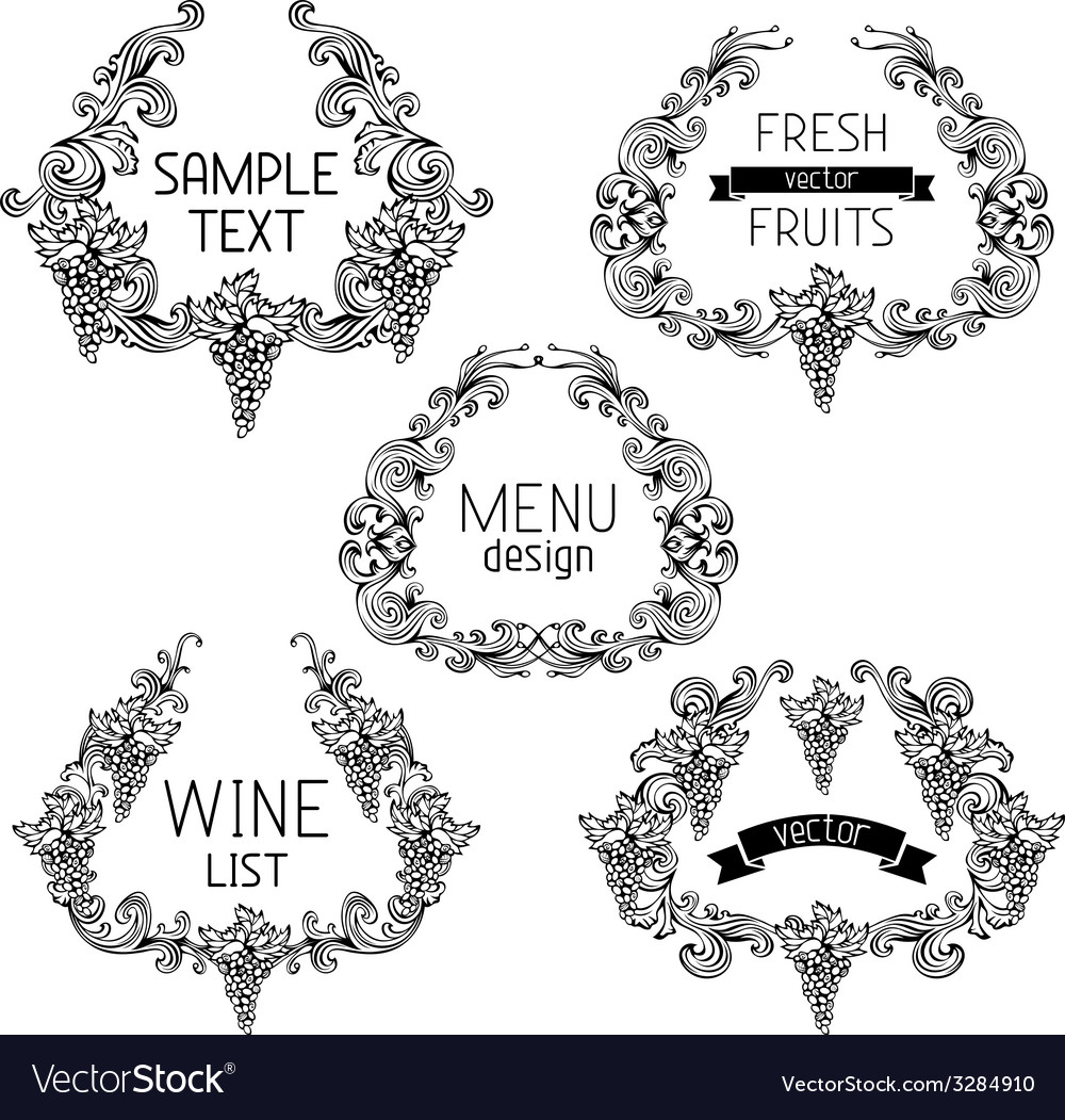 Set of grapes vintage wreathes vector | Price: 1 Credit (USD $1)