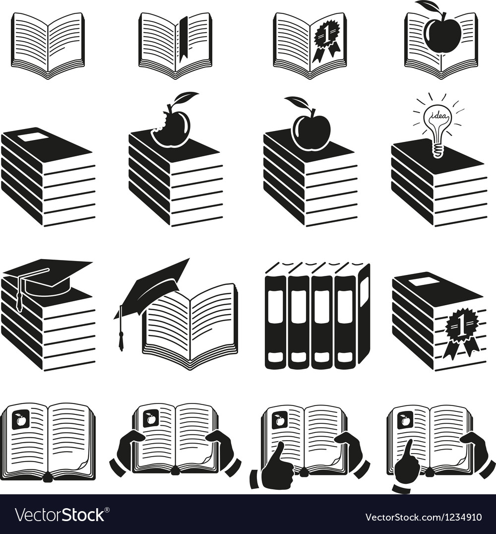 Set of icons of books vector | Price: 1 Credit (USD $1)
