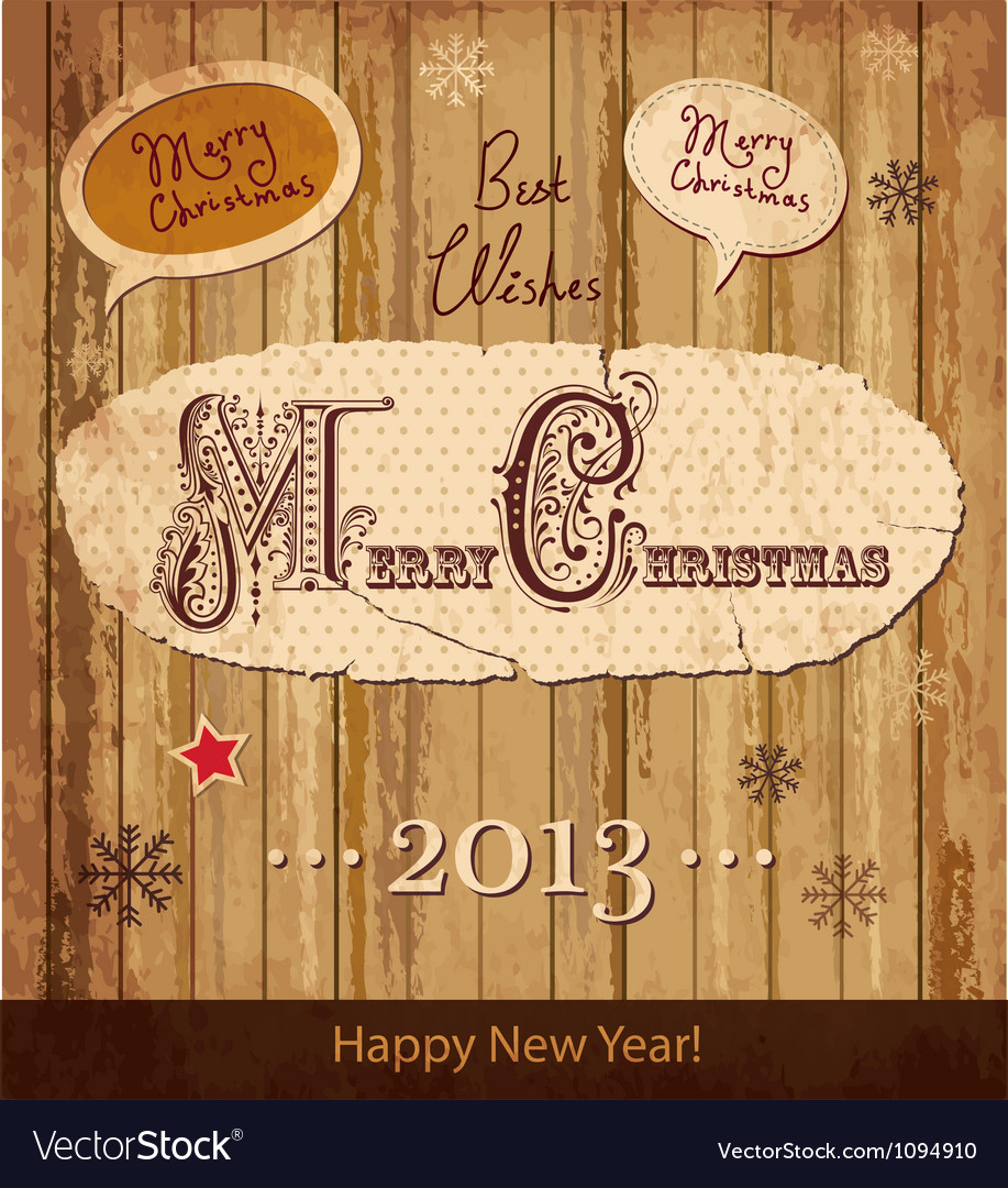 Wooden christmas card vector | Price: 1 Credit (USD $1)