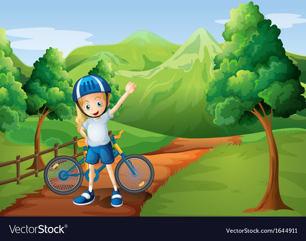 A cute little girl and her bike at the pathway vector | Price: 3 Credit (USD $3)
