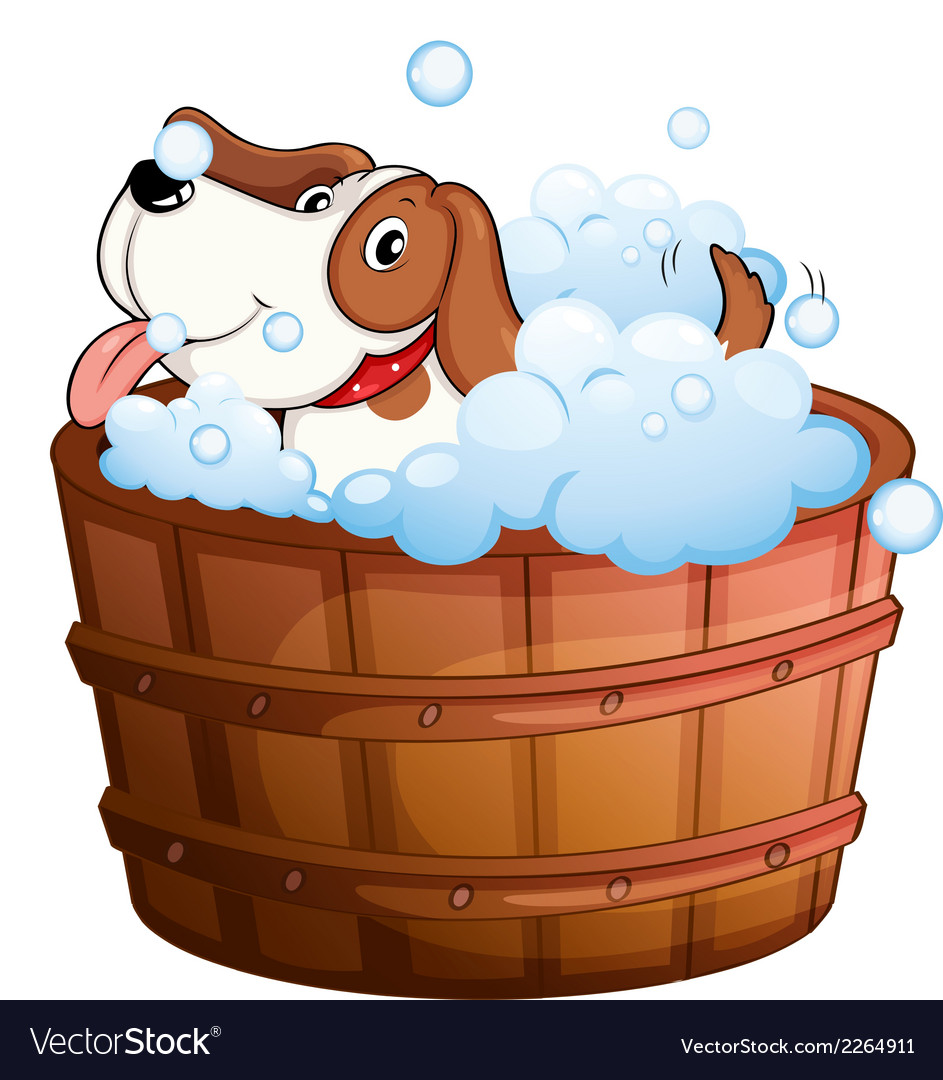 A cute puppy taking a bath vector | Price: 1 Credit (USD $1)