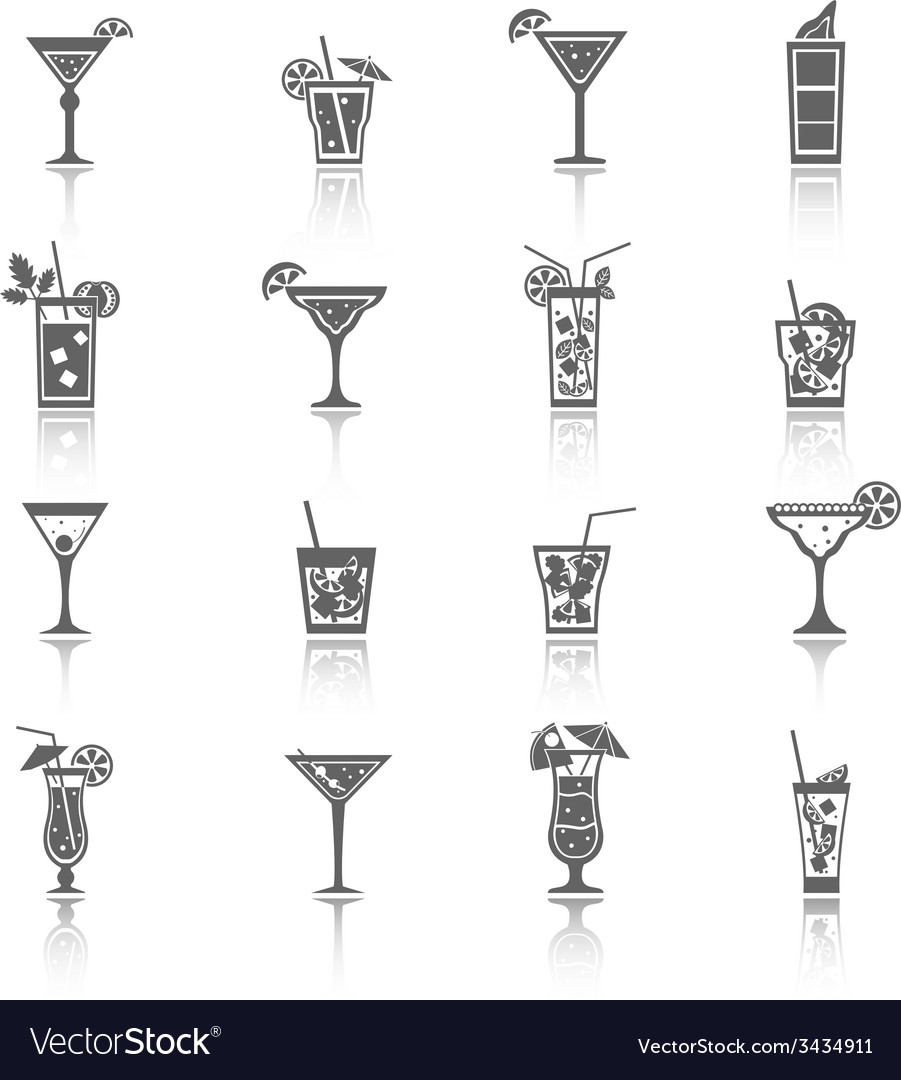 Alcohol cocktails icons black vector | Price: 1 Credit (USD $1)