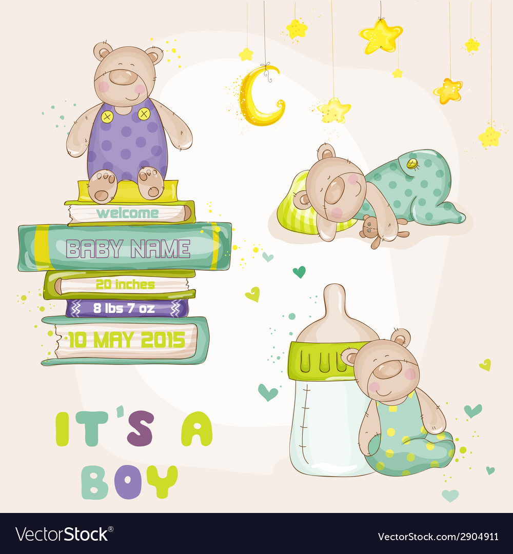 Baby bear set - for baby shower cards vector | Price: 1 Credit (USD $1)