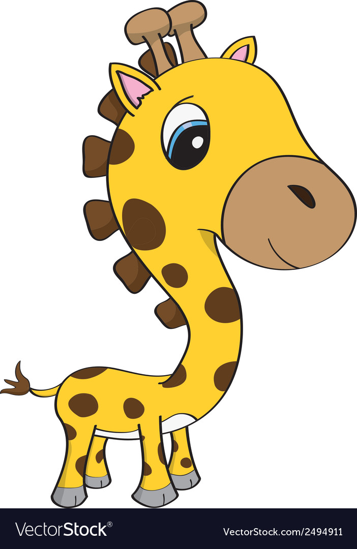 Cute baby giraffe cartoon vector | Price: 1 Credit (USD $1)