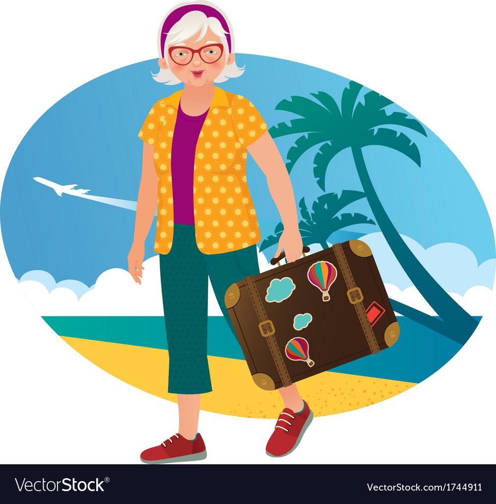 Elderly lady travels vector | Price: 1 Credit (USD $1)