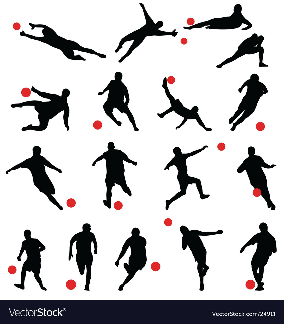 Football silhouettes vector | Price: 1 Credit (USD $1)