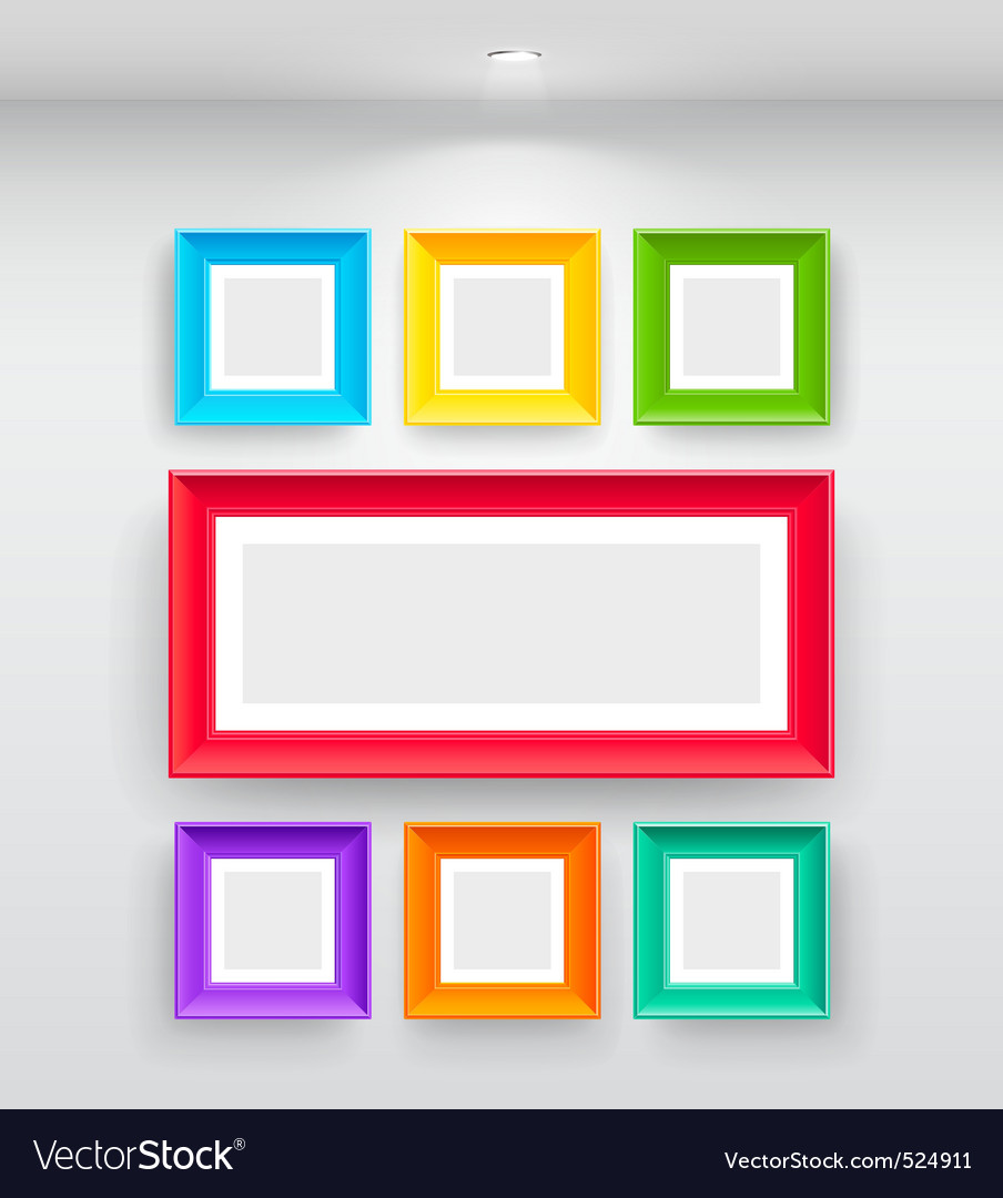 Gallery interior with empty colorful vector | Price: 3 Credit (USD $3)