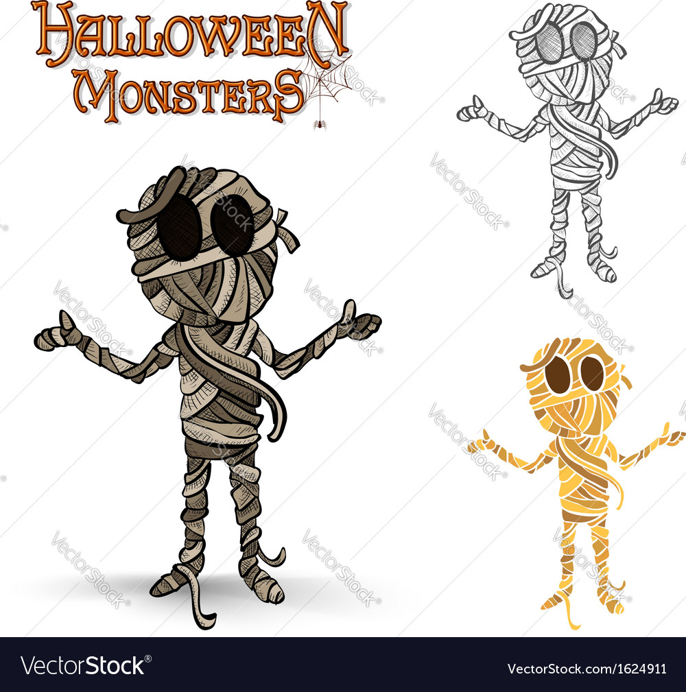 Halloween monsters spooky mummy eps10 file vector | Price: 1 Credit (USD $1)