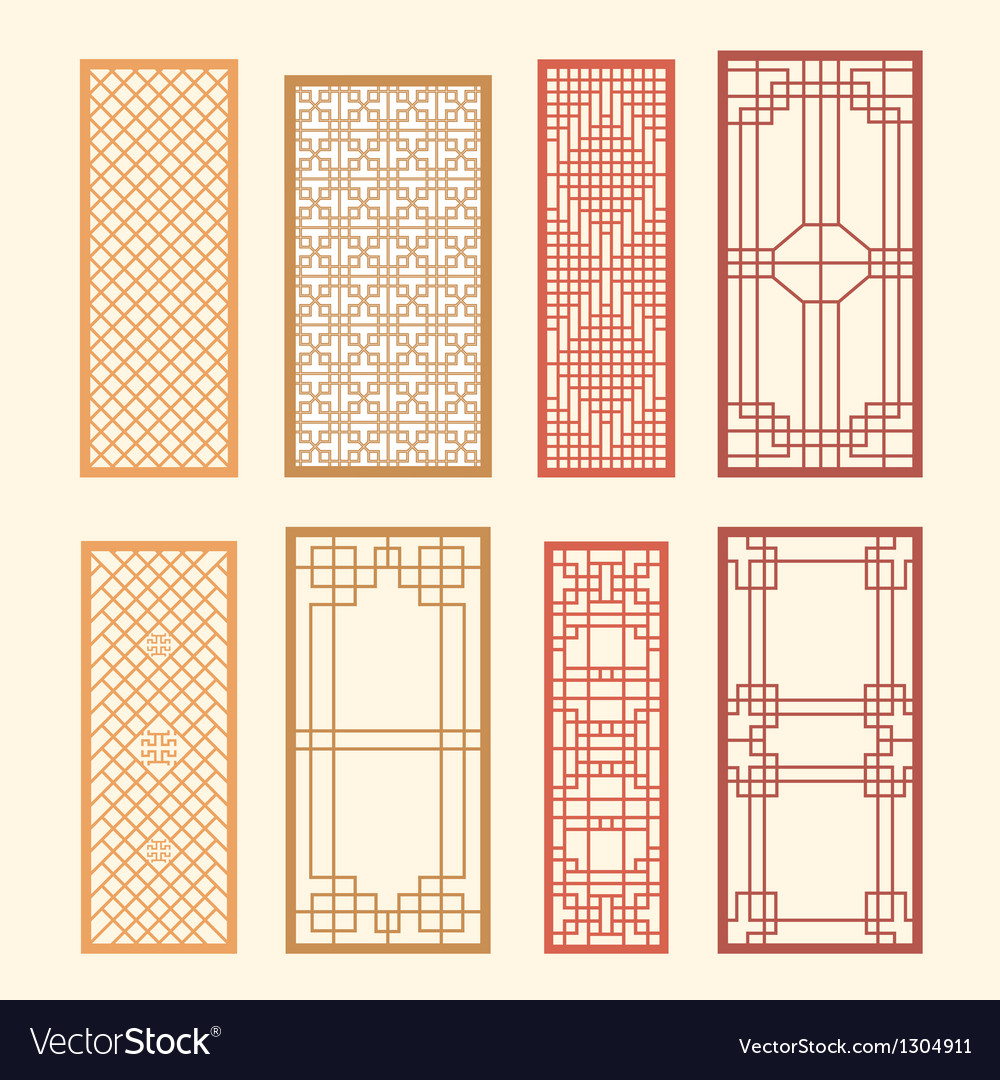 Korean old of window frame symbol sets vector | Price: 1 Credit (USD $1)