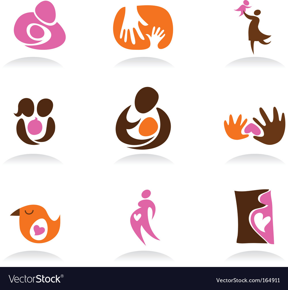 Mothers and babies logo elements vector