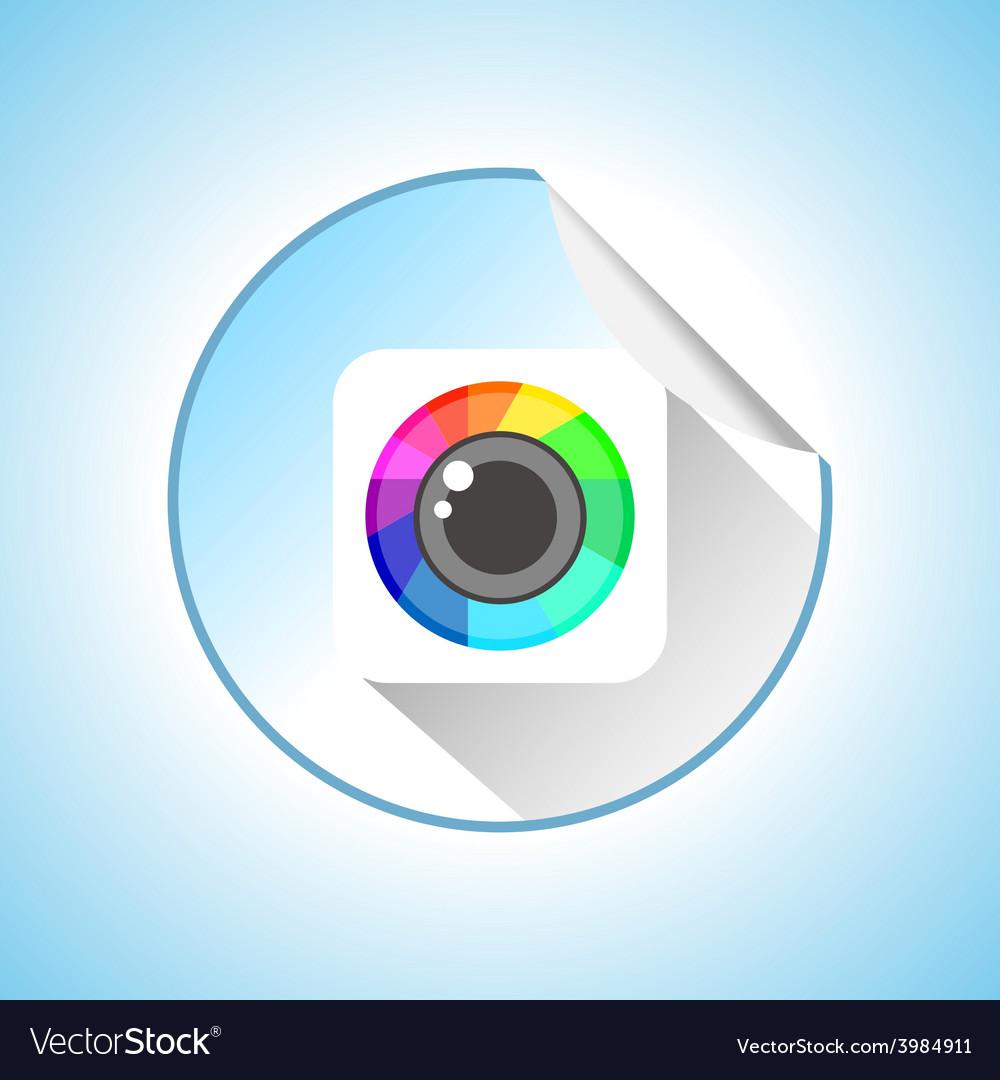 Photo camera sign round sticker vector   Price: 1 Credit (USD $1)