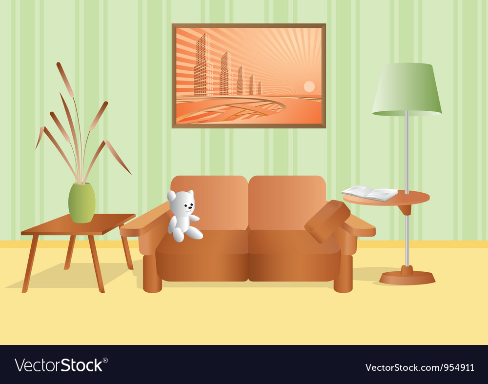 Room with a bouquet and sofa vector | Price: 1 Credit (USD $1)