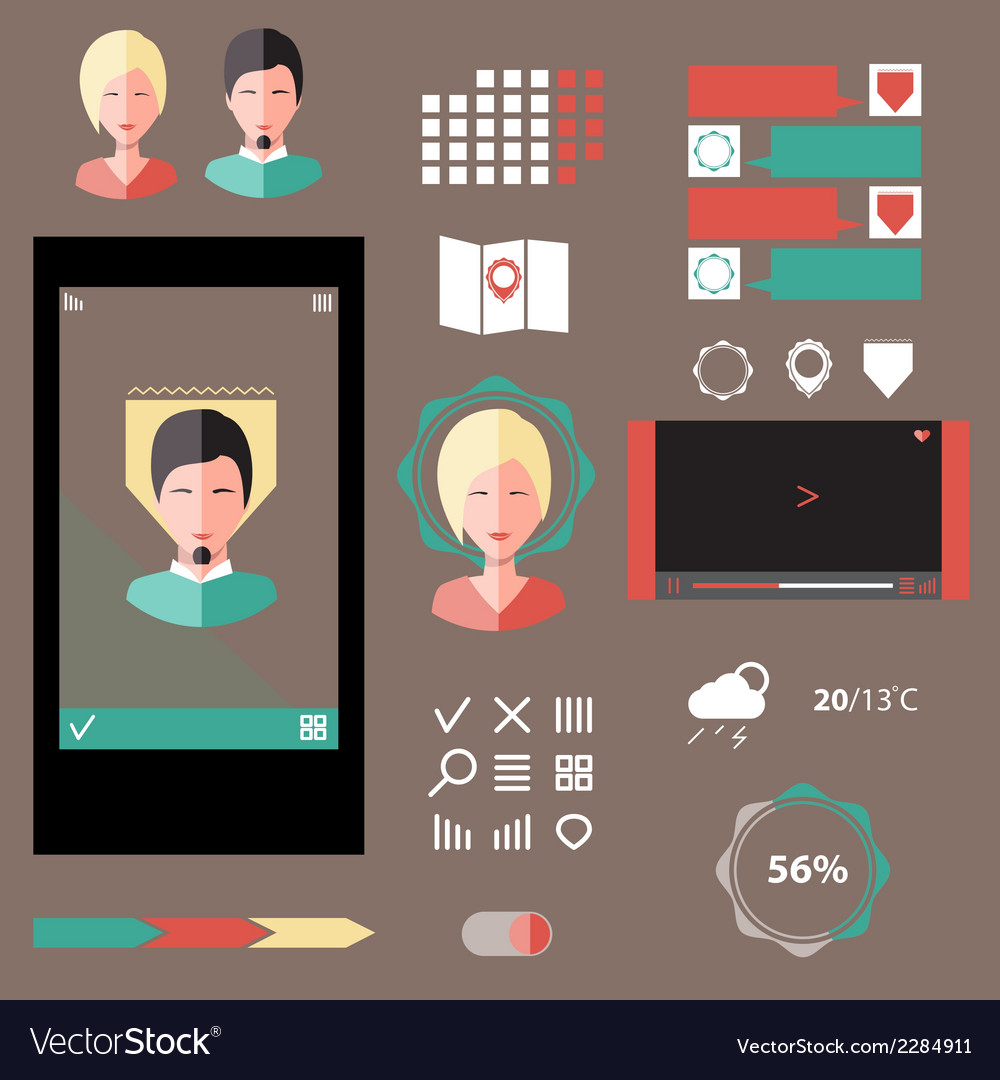 Set of various elements interface projects vector   Price: 1 Credit (USD $1)