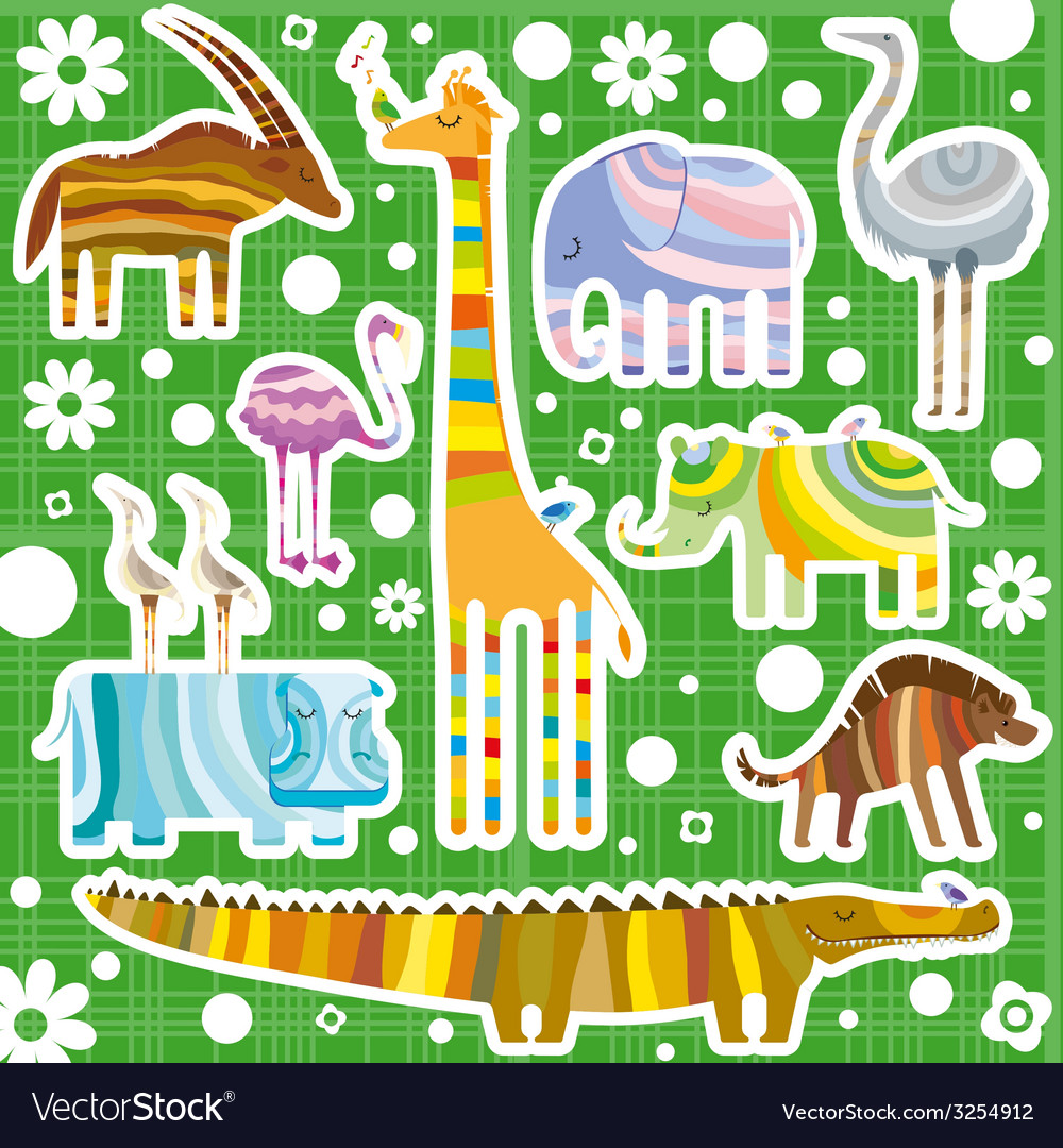 African animals color background vector | Price: 1 Credit (USD $1)