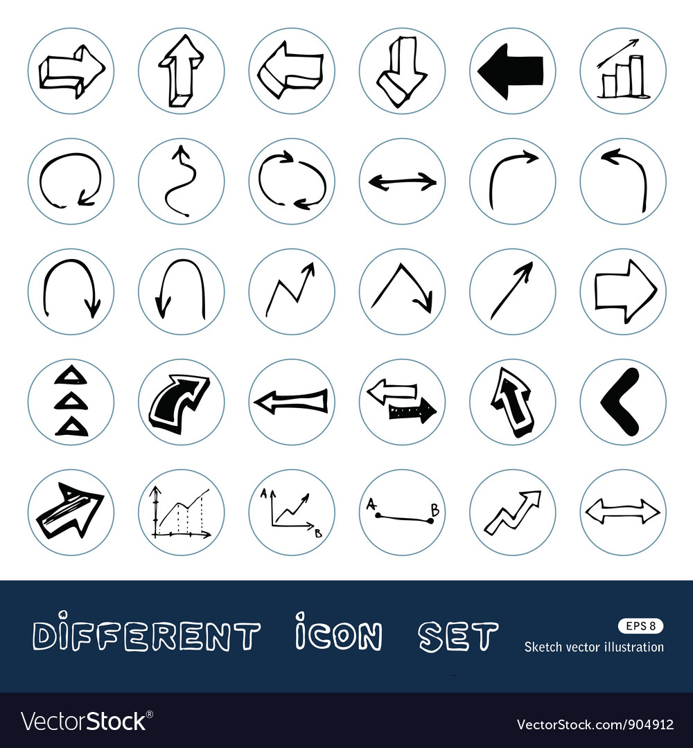Arrows web icons set vector | Price: 1 Credit (USD $1)