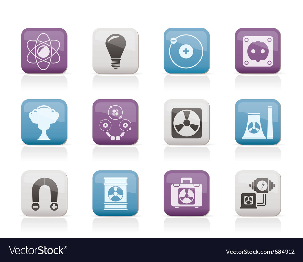 Atomic and nuclear energy icons vector | Price: 1 Credit (USD $1)
