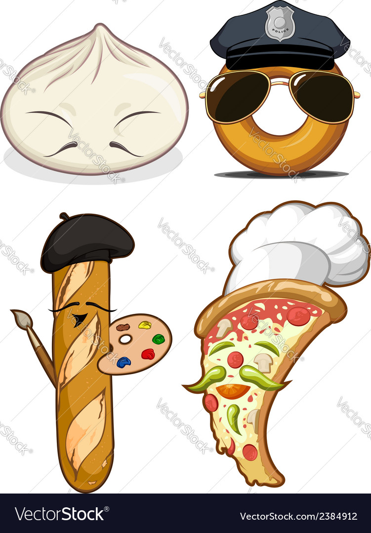 Food set chinese bun french bread pizza chef vector | Price: 1 Credit (USD $1)