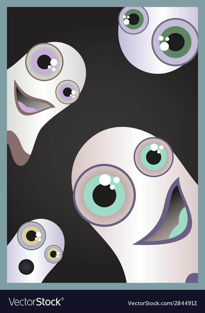 Halloween card with funny and scared ghost vector | Price: 1 Credit (USD $1)