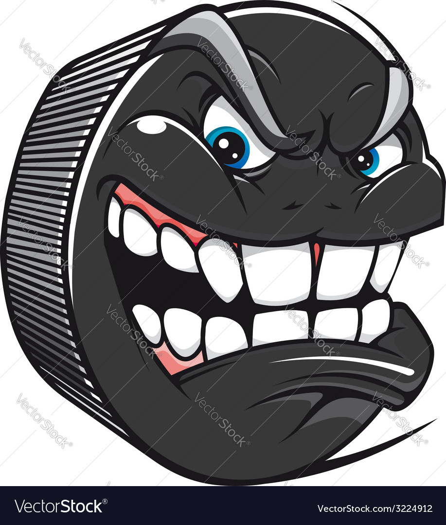 Hockey puck with an evil toothy grin vector   Price: 1 Credit (USD $1)
