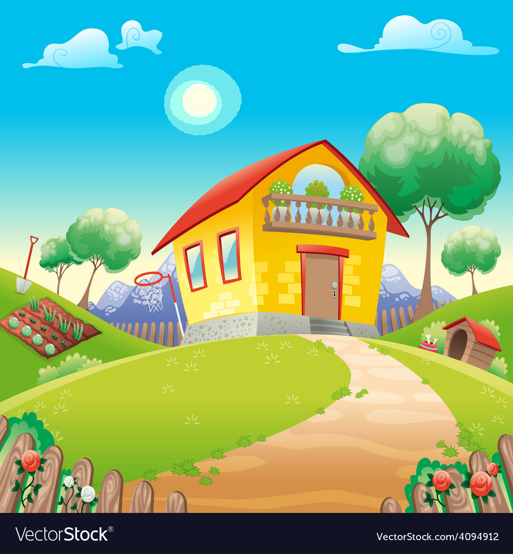 House with garden int the countryside vector | Price: 3 Credit (USD $3)