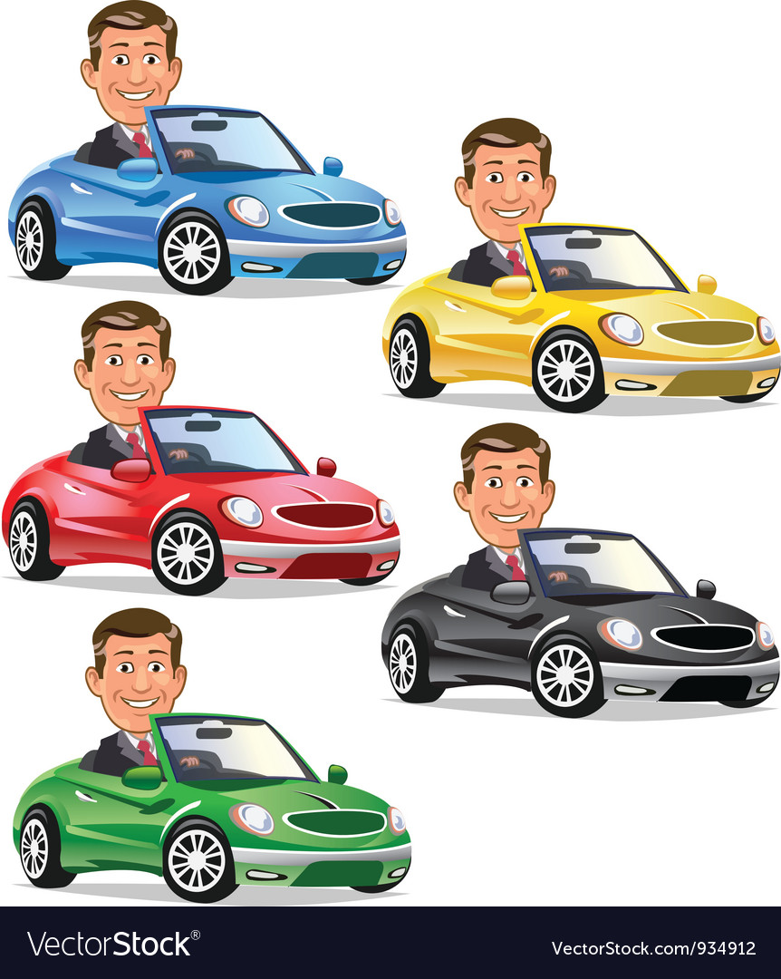 Men driving convertible vector | Price: 3 Credit (USD $3)