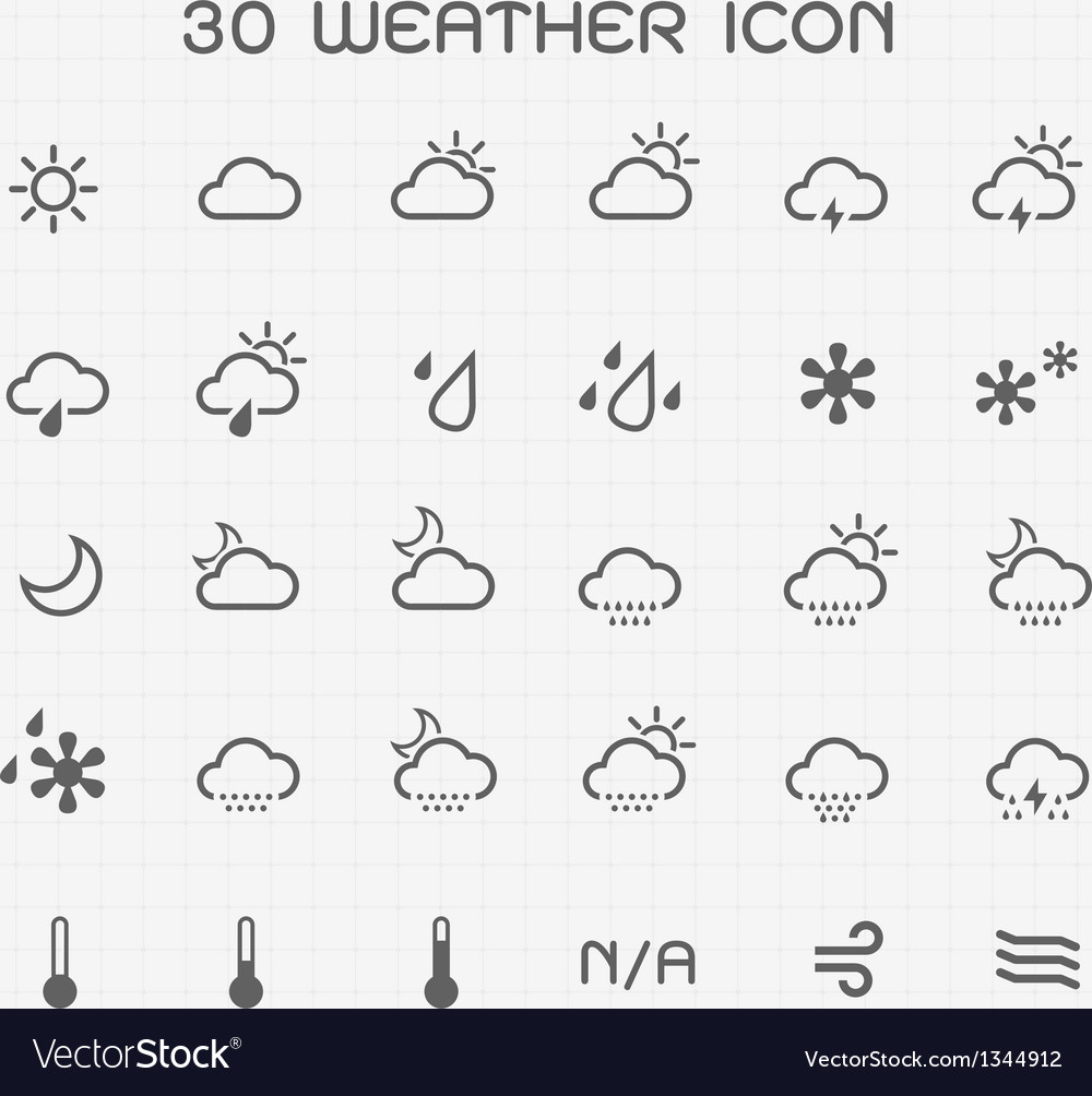 Monotone weather icon set vector | Price: 1 Credit (USD $1)