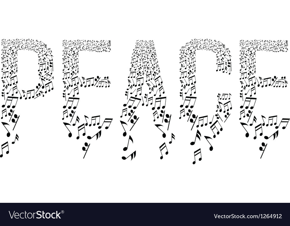 Musical notes in peace vector | Price: 1 Credit (USD $1)