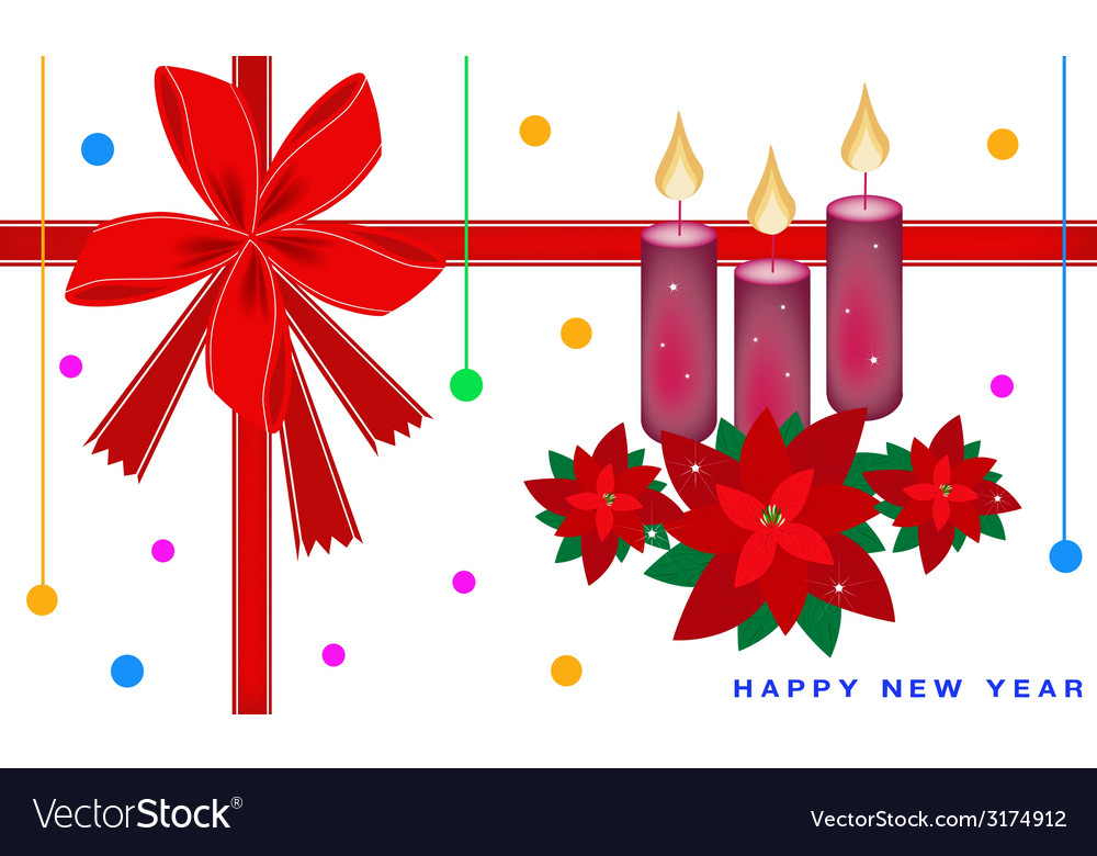 New year card with poinsettia flower and candles vector | Price: 1 Credit (USD $1)