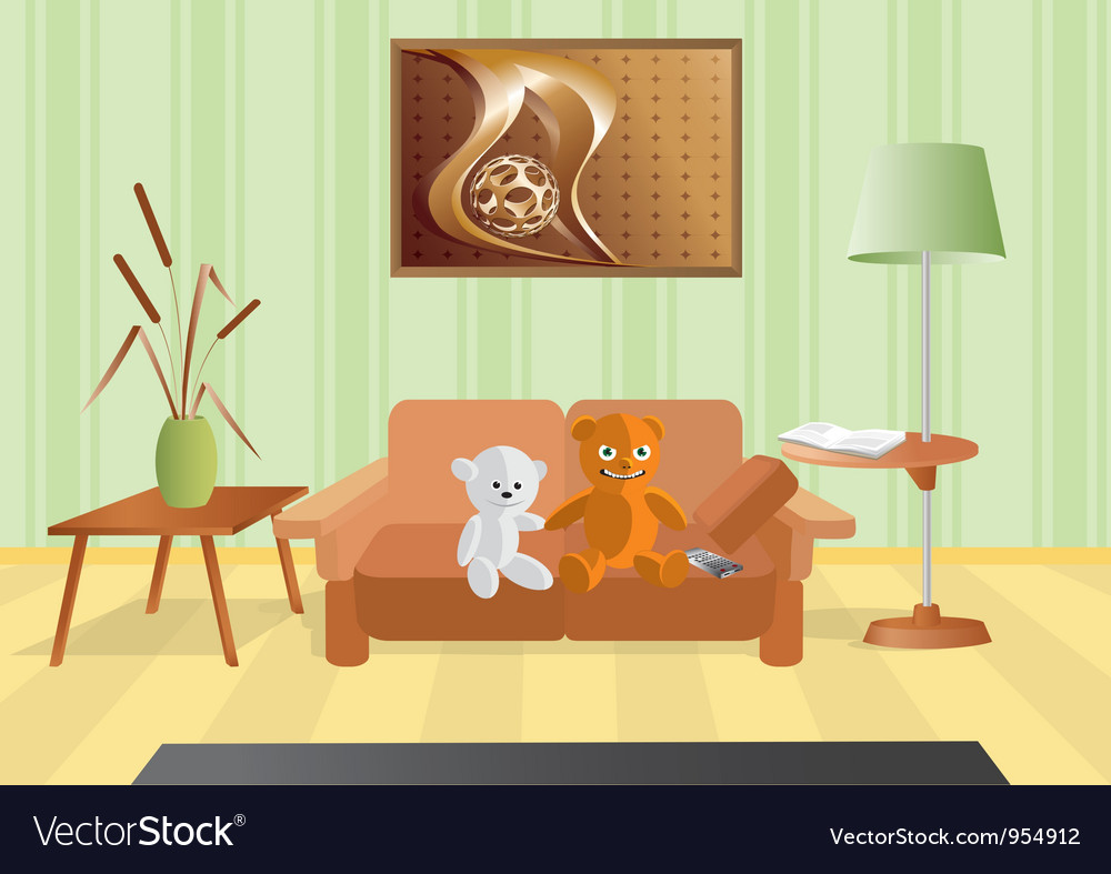 Room with a bouquet and sofa vector   Price: 1 Credit (USD $1)