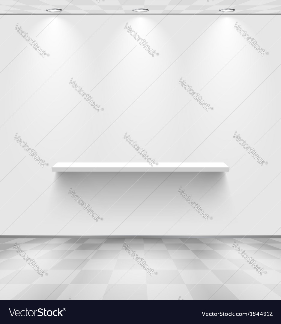 White room with shelf and checkered floor vector