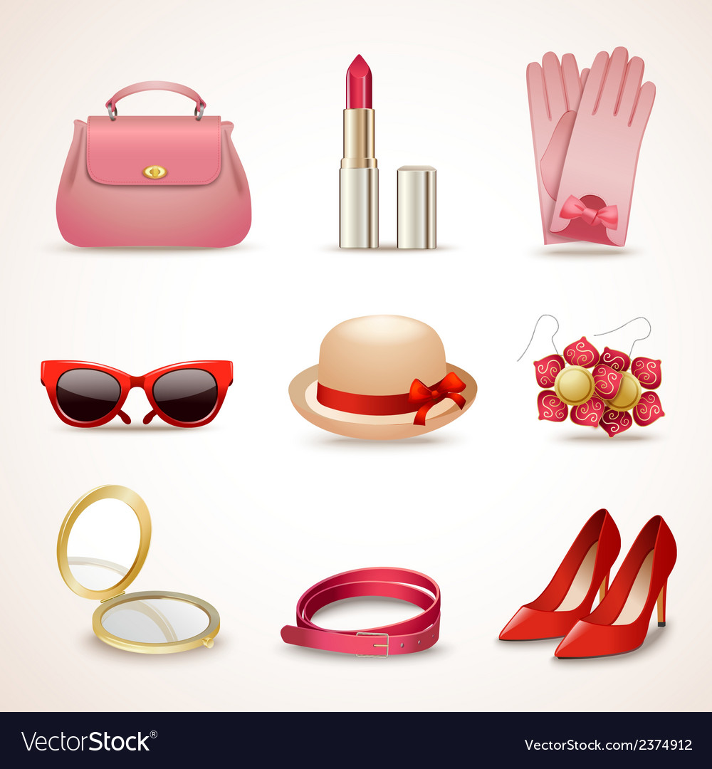 Woman accessories icon set vector | Price: 1 Credit (USD $1)