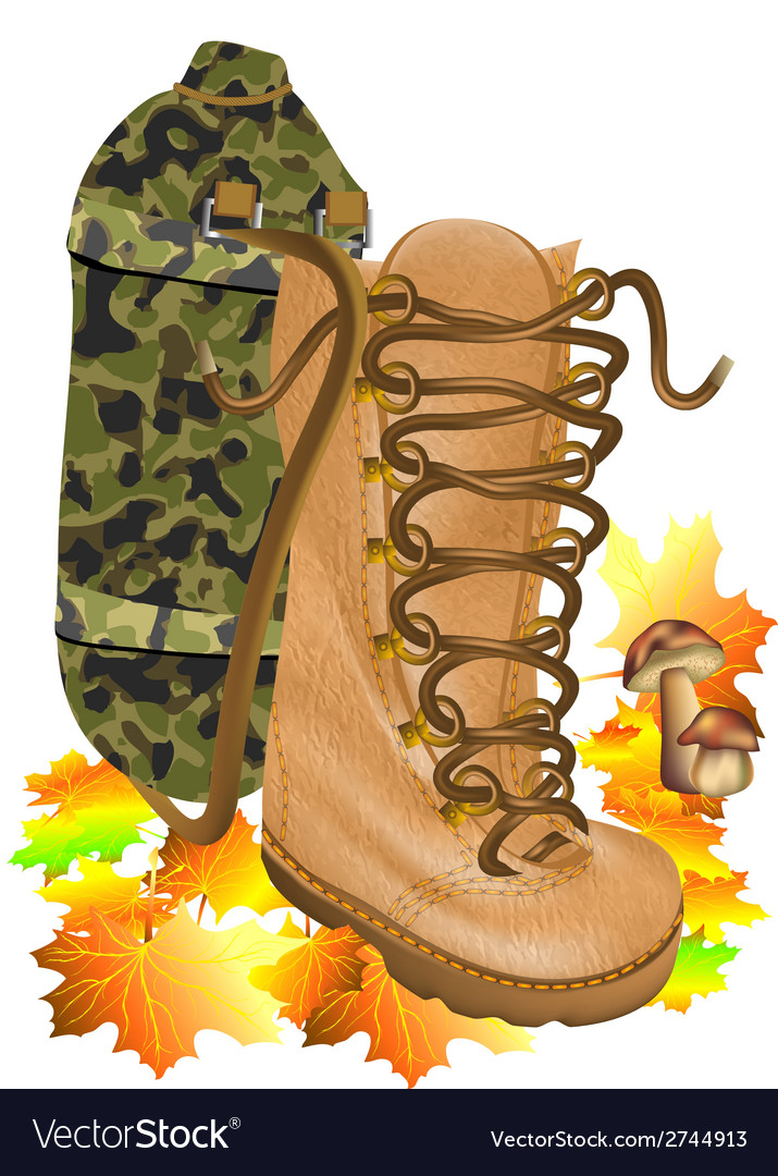 Boot traveling on autumn leves vector | Price: 1 Credit (USD $1)