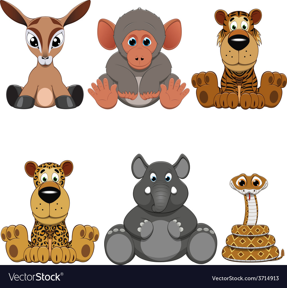 Cute colorful exotic animals collection vector | Price: 3 Credit (USD $3)