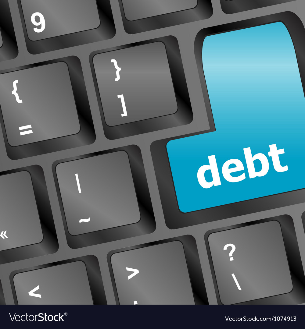 Debt key in place of enter key - business concept vector | Price: 1 Credit (USD $1)