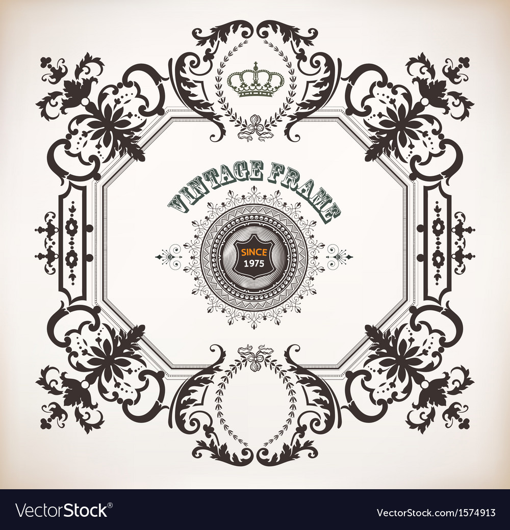 Floral frame with heraldic and design elements bar vector | Price: 1 Credit (USD $1)
