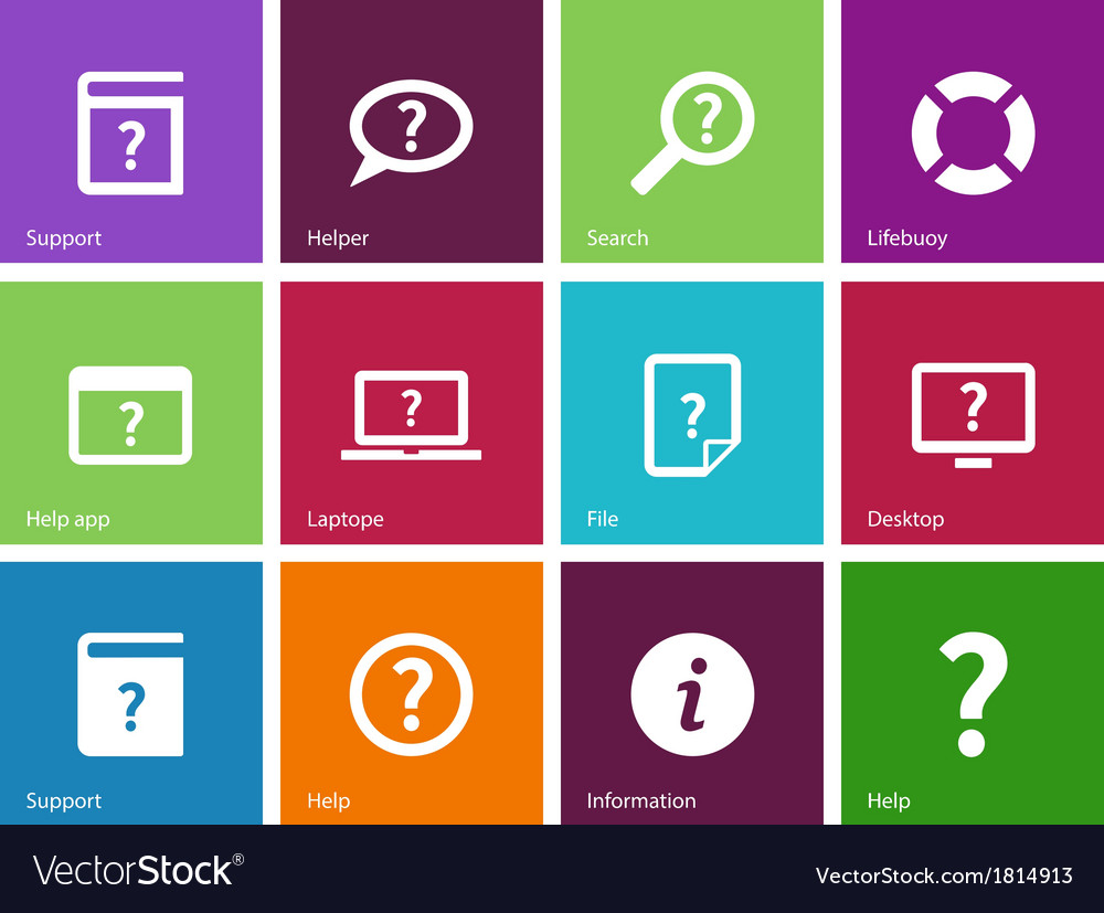 Help and faq icons on color background vector | Price: 1 Credit (USD $1)