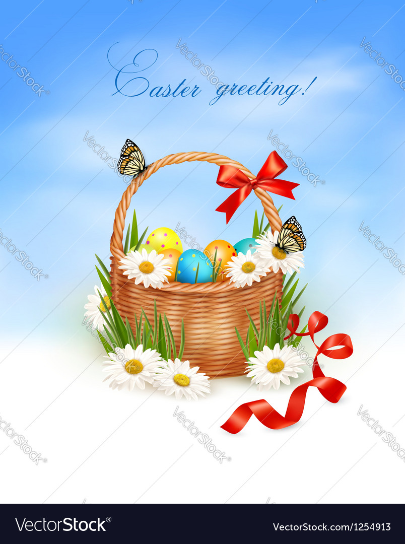 Holiday background with easter backet and eggs vector | Price: 3 Credit (USD $3)