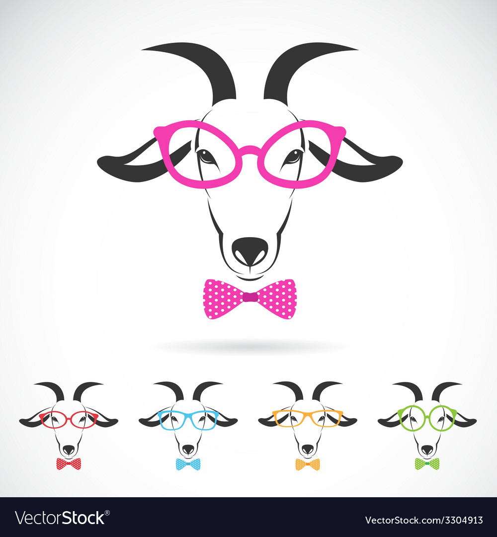 Images of a goat wearing glasses vector | Price: 1 Credit (USD $1)