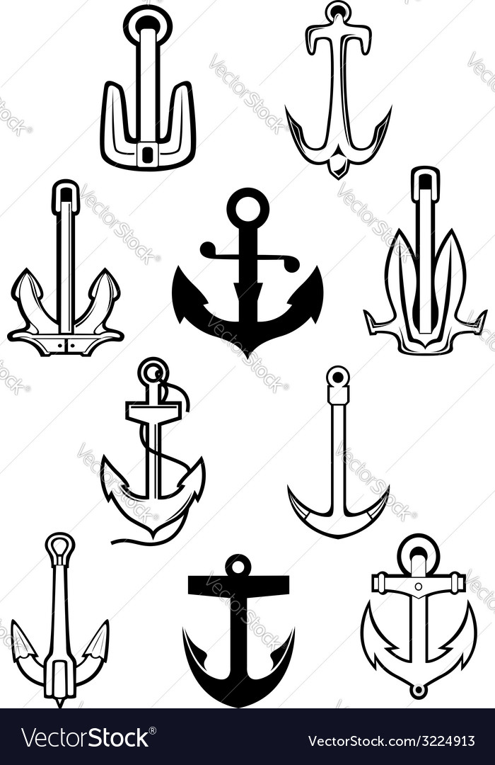 Marine themed set of ships anchors vector | Price: 1 Credit (USD $1)