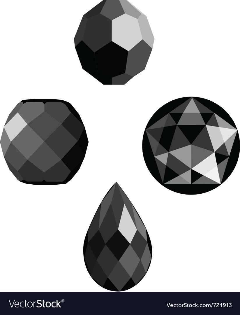 Onyx and jet faceted beads vector | Price: 1 Credit (USD $1)