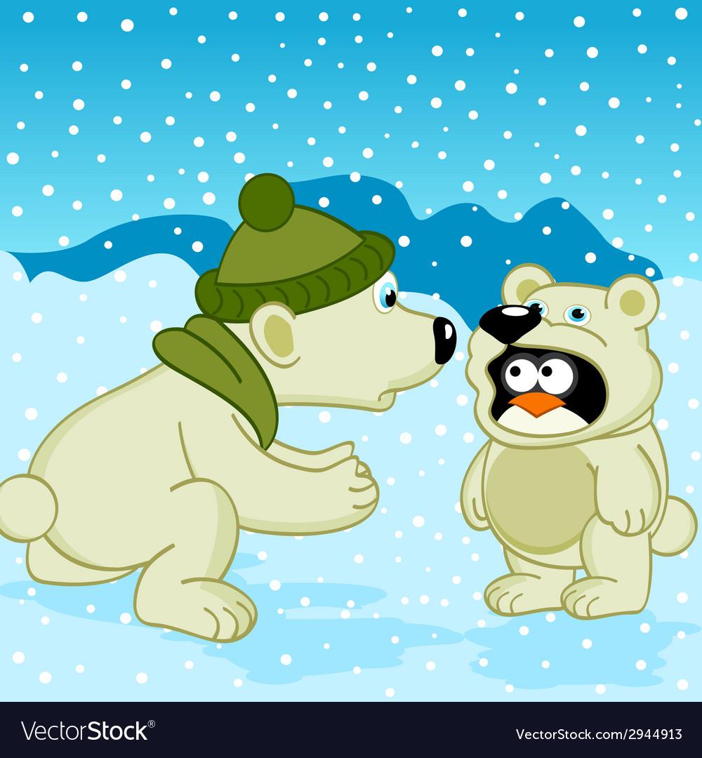 Polar bear penguin dressed as bear vector | Price: 1 Credit (USD $1)