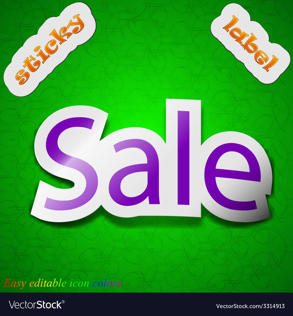 Sale tag icon sign symbol chic colored sticky vector   Price: 1 Credit (USD $1)