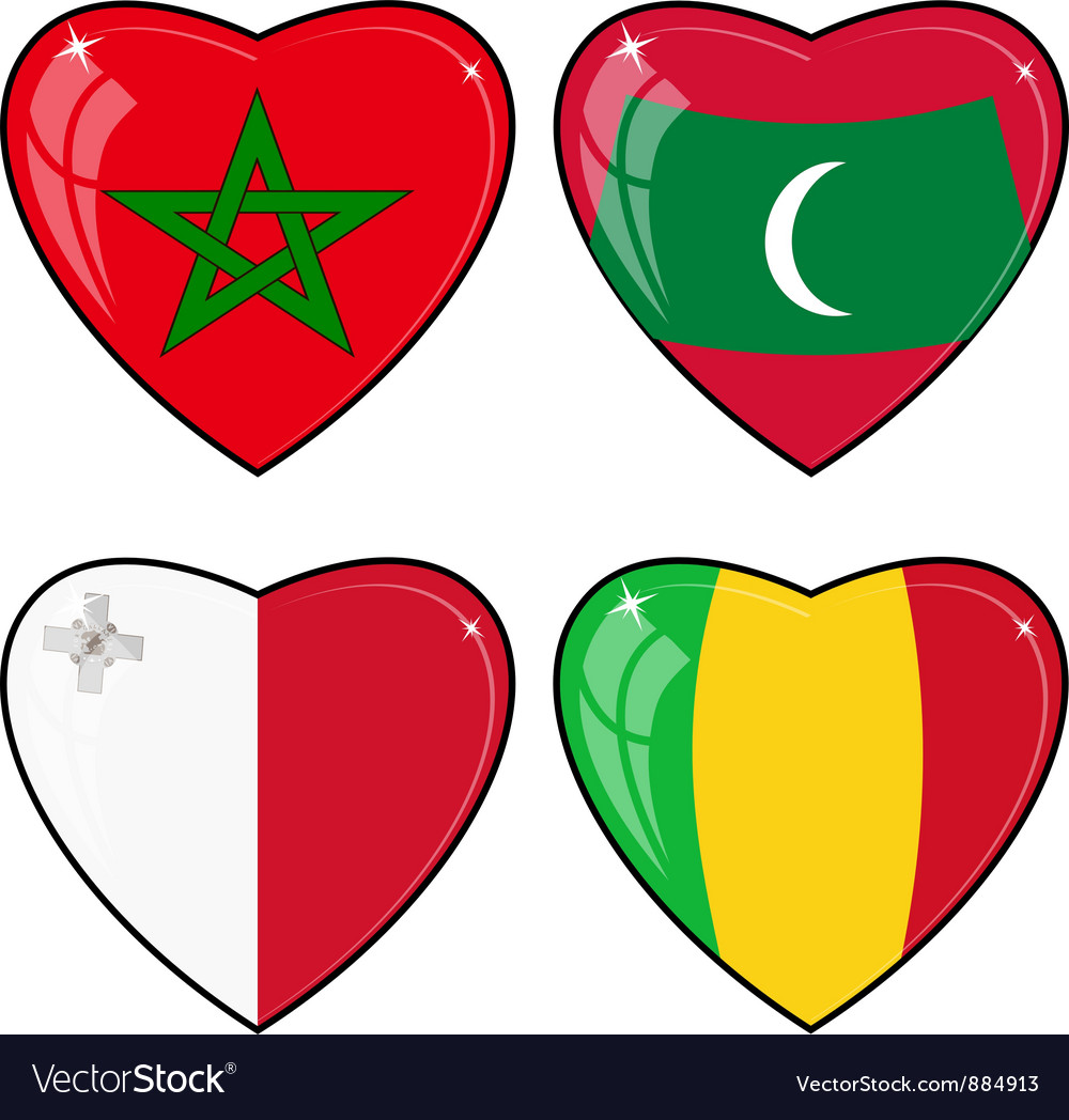 Set of images of hearts with the flags of mali vector | Price: 1 Credit (USD $1)