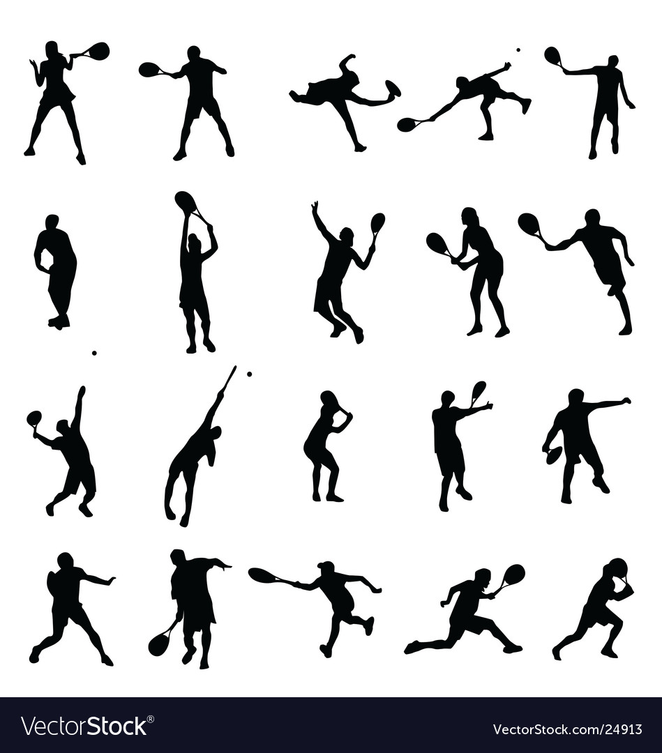 Tennis silhouettes collection vector | Price:  Credit (USD $)